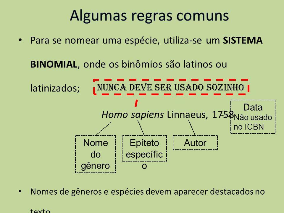 Algumas regras comunsPara se nomear uma espécie, utiliza-se um SISTEMA BINOMIAL, onde os binômios são latinos ou latinizados;