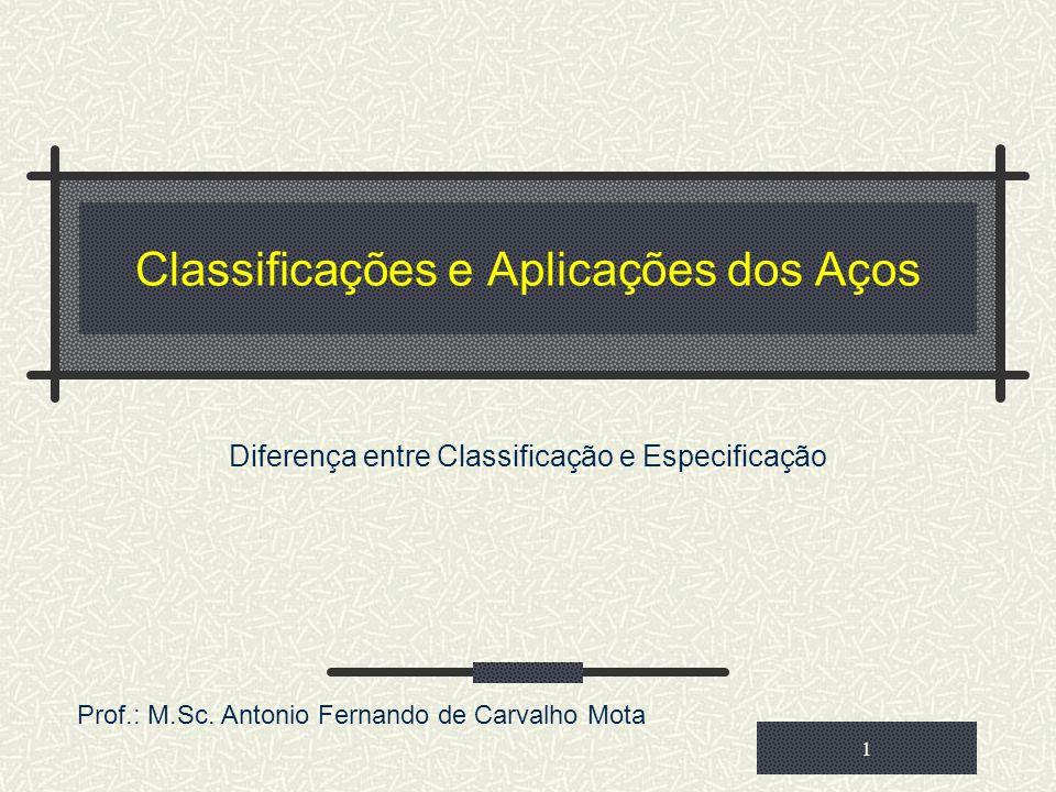 Classificações e Aplicações dos Aços