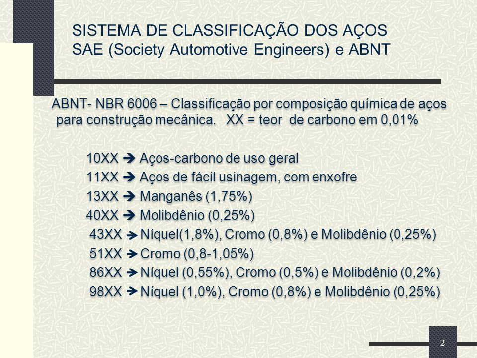 SISTEMA DE CLASSIFICAÇÃO DOS AÇOS SAE (Society Automotive Engineers) e ABNT