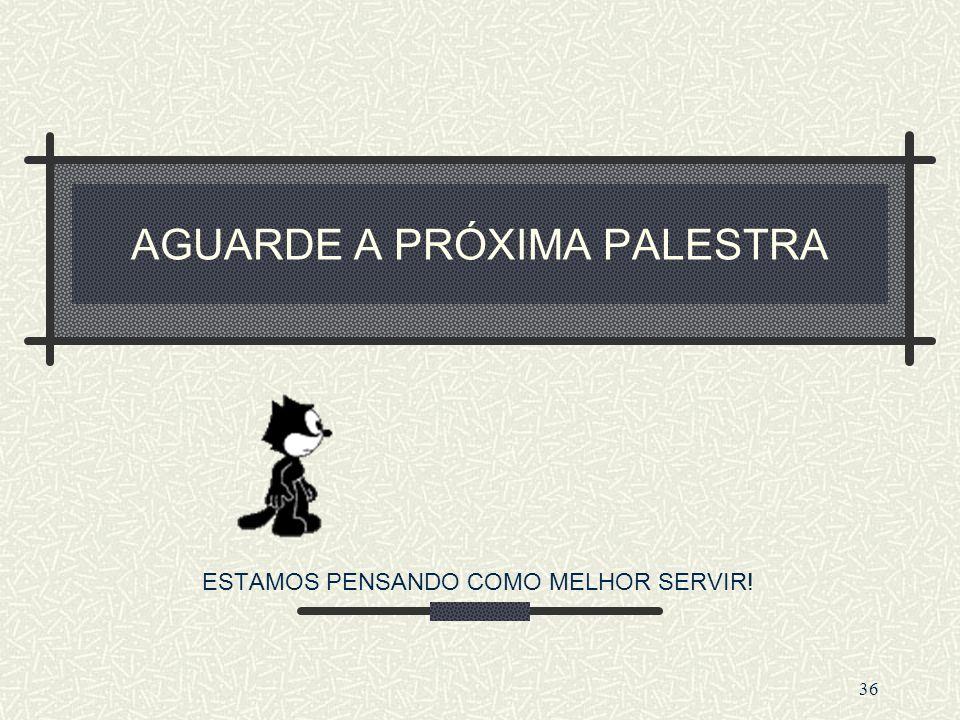 AGUARDE A PRÓXIMA PALESTRA