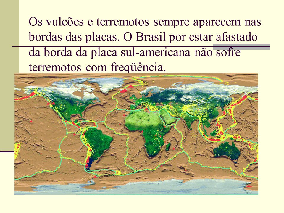 Os vulcões e terremotos sempre aparecem nas bordas das placas