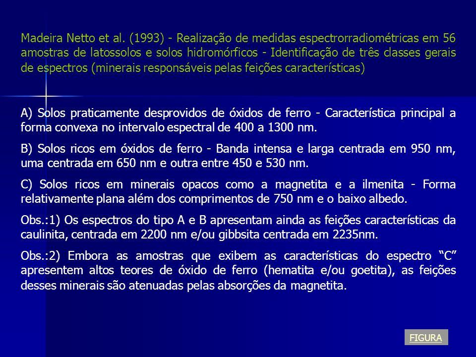Madeira Netto et al. (1993) - Realização de medidas espectrorradiométricas em 56 amostras de latossolos e solos hidromórficos - Identificação de três classes gerais de espectros (minerais responsáveis pelas feições características)