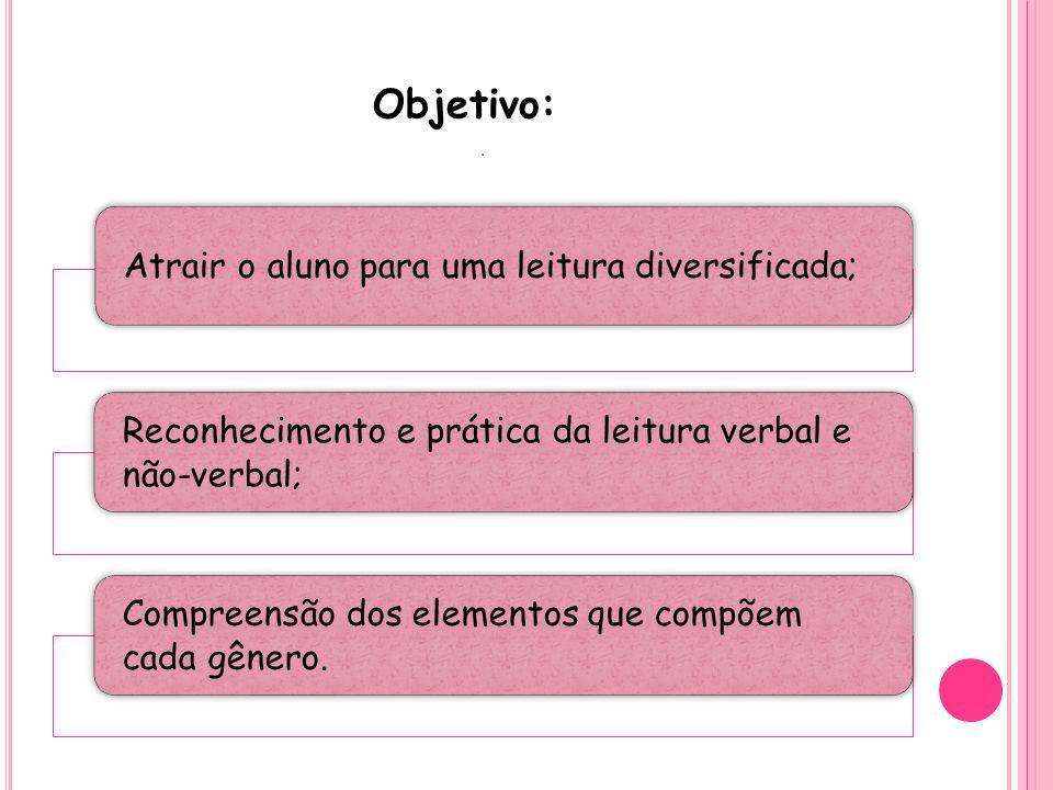 Objetivo: . Atrair o aluno para uma leitura diversificada;