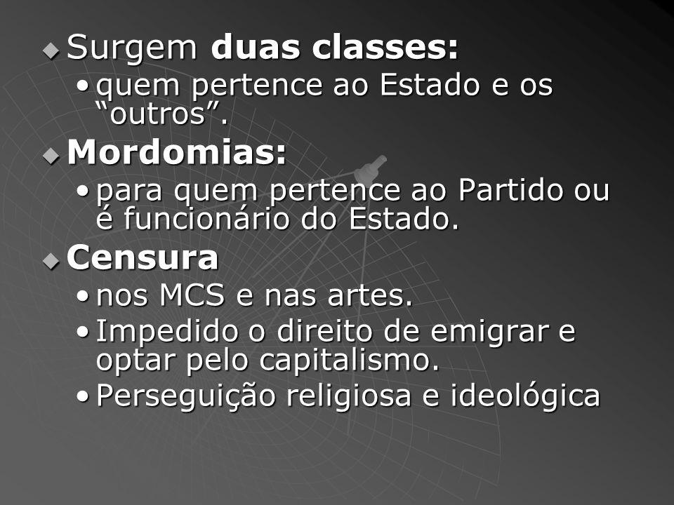 Surgem duas classes: Mordomias: Censura