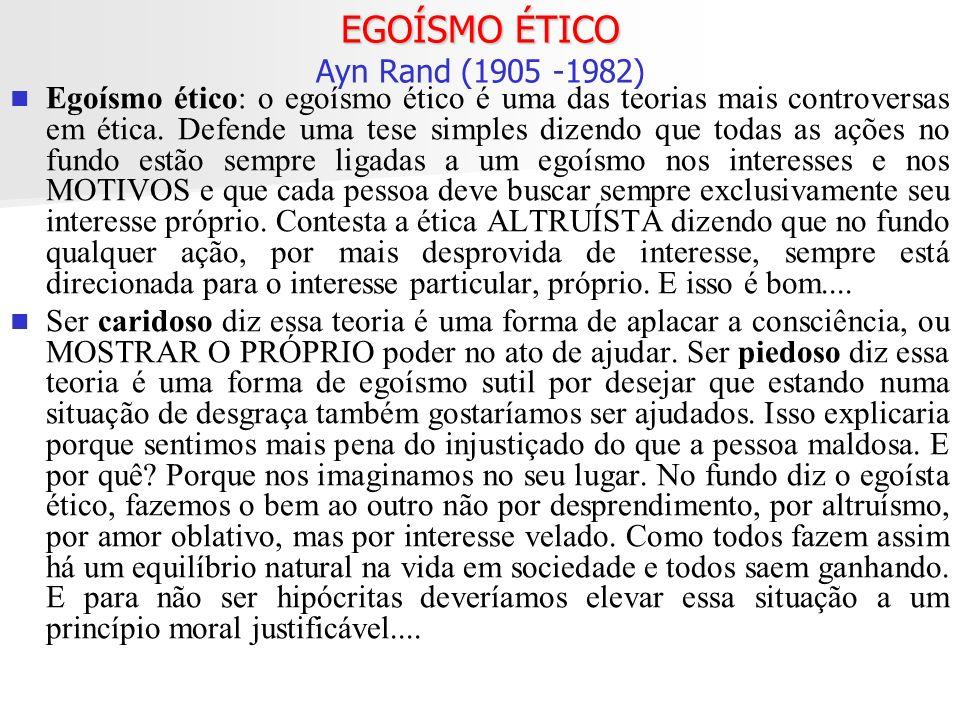 EGOÍSMO ÉTICO Ayn Rand (1905 -1982)