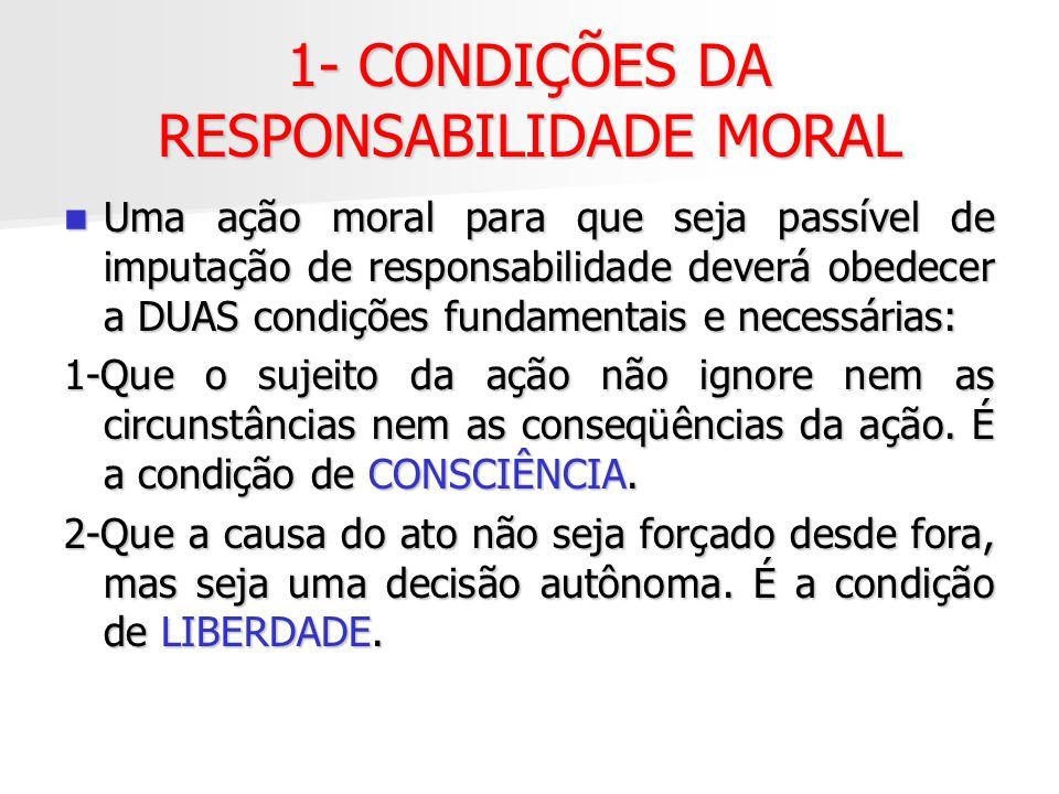 1- CONDIÇÕES DA RESPONSABILIDADE MORAL
