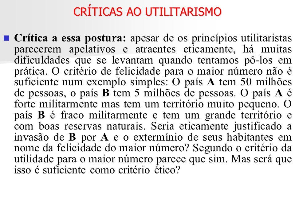 CRÍTICAS AO UTILITARISMO
