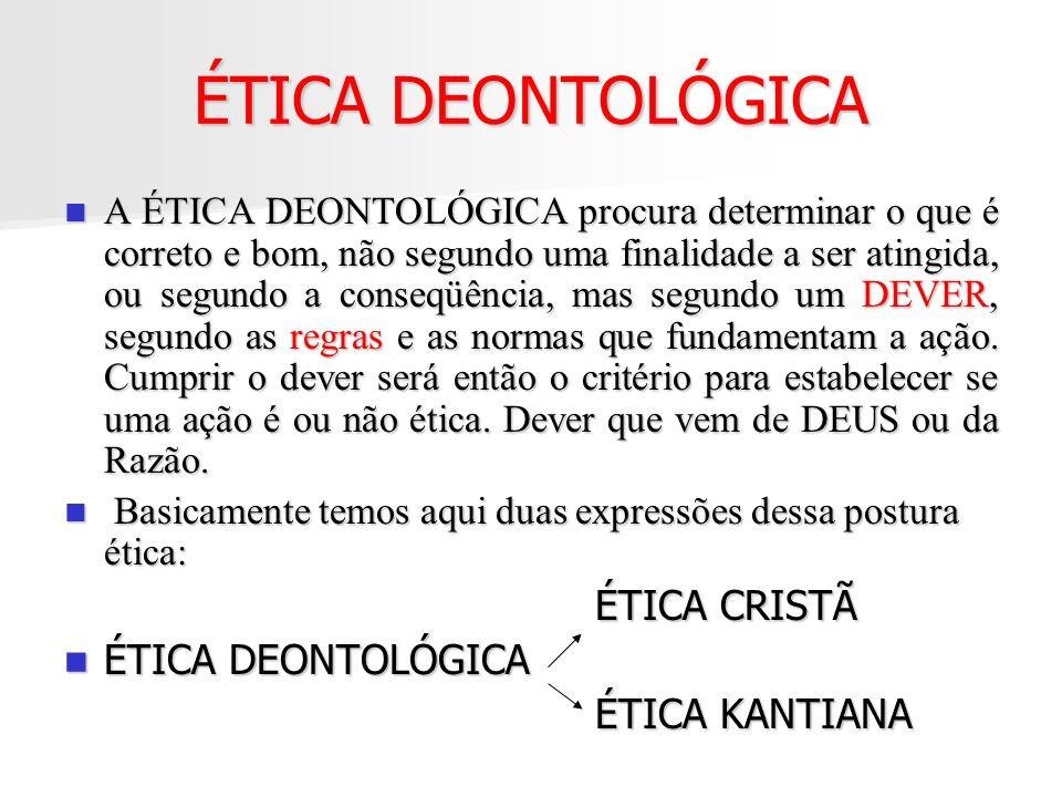 ÉTICA DEONTOLÓGICA ÉTICA CRISTÃ ÉTICA DEONTOLÓGICA ÉTICA KANTIANA