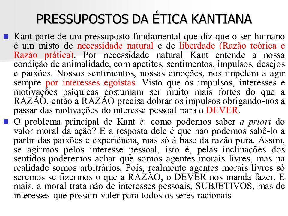 PRESSUPOSTOS DA ÉTICA KANTIANA