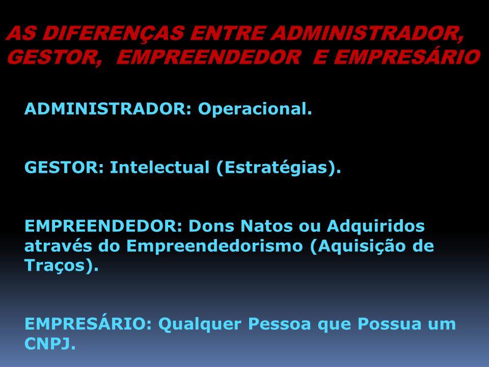 AS DIFERENÇAS ENTRE ADMINISTRADOR, GESTOR, EMPREENDEDOR E EMPRESÁRIO