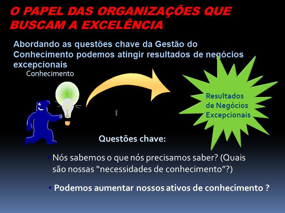 O PAPEL DAS ORGANIZAÇÕES QUE BUSCAM A EXCELÊNCIA
