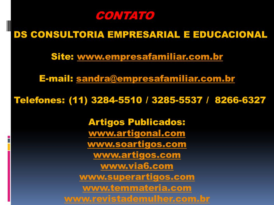 CONTATO DS CONSULTORIA EMPRESARIAL E EDUCACIONAL