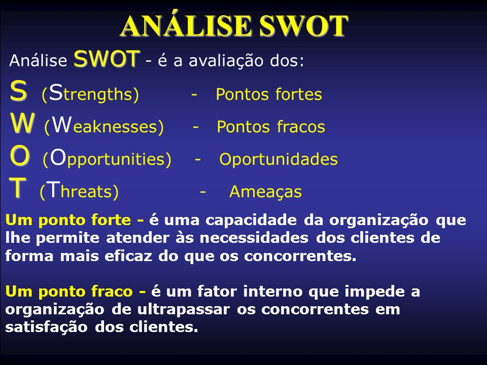 ANÁLISE SWOT S (Strengths) - Pontos fortes