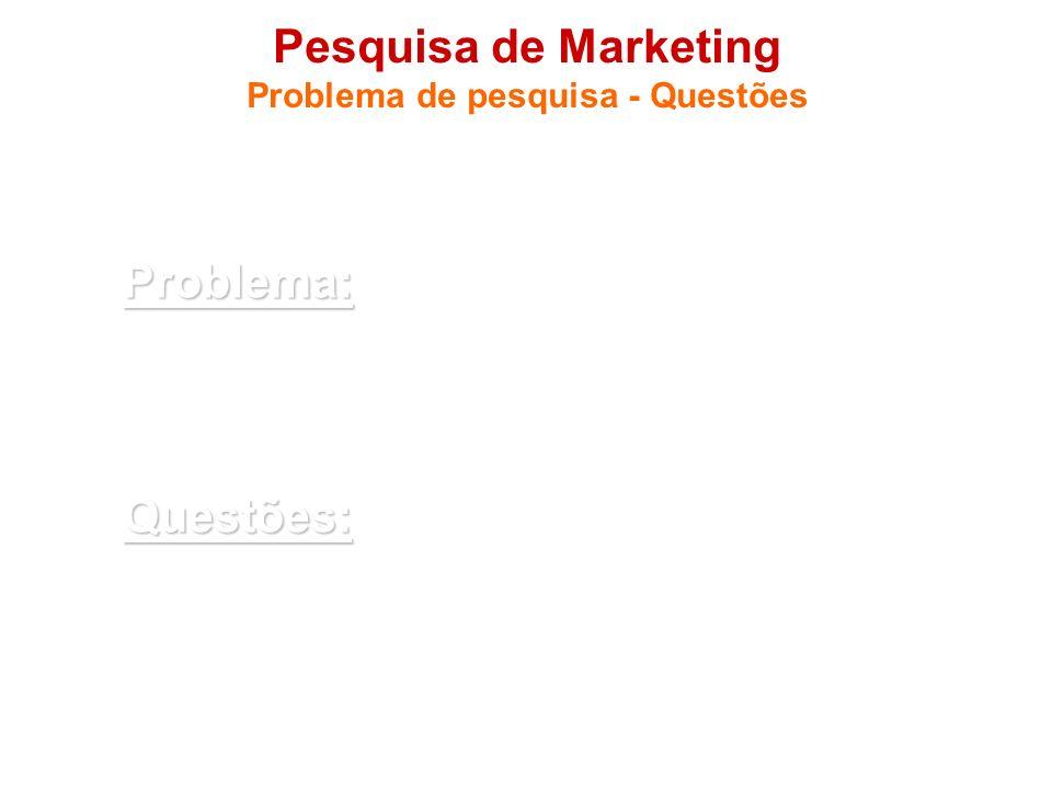 Pesquisa de Marketing Problema de pesquisa - Questões