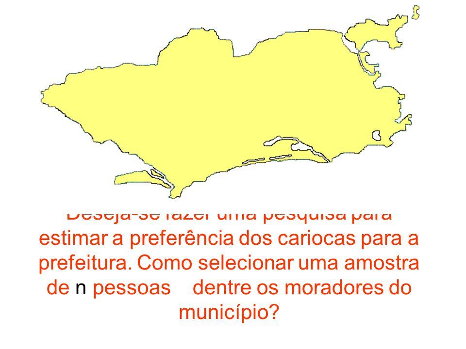 Deseja-se fazer uma pesquisa para estimar a preferência dos cariocas para a prefeitura.
