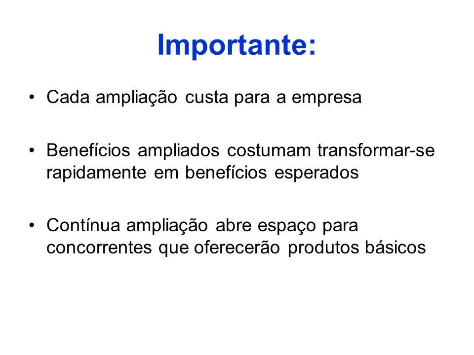 Importante: Cada ampliação custa para a empresa