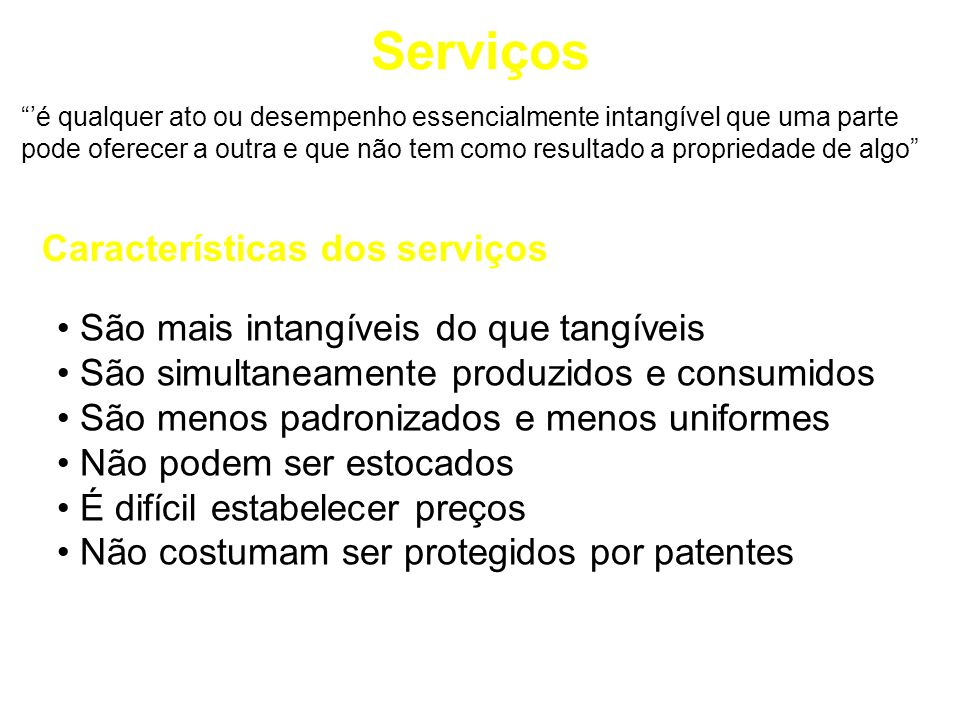 Serviços Características dos serviços
