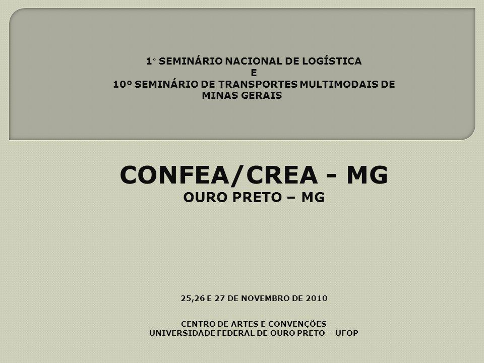 CONFEA/CREA - MG OURO PRETO – MG 1° SEMINÁRIO NACIONAL DE LOGÍSTICA E