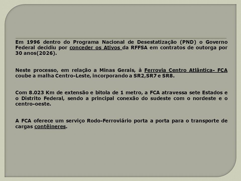 Em 1996 dentro do Programa Nacional de Desestatização (PND) o Governo Federal decidiu por conceder os Ativos da RFFSA em contratos de outorga por 30 anos(2026).