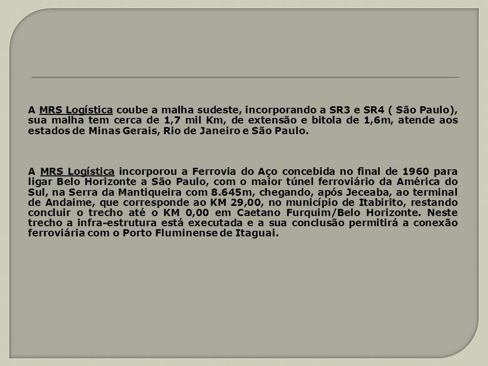 A MRS Logística coube a malha sudeste, incorporando a SR3 e SR4 ( São Paulo), sua malha tem cerca de 1,7 mil Km, de extensão e bitola de 1,6m, atende aos estados de Minas Gerais, Rio de Janeiro e São Paulo.