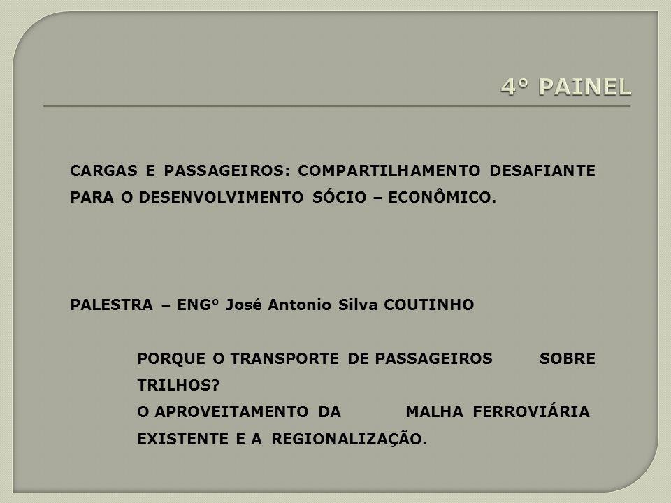 4° PAINEL CARGAS E PASSAGEIROS: COMPARTILHAMENTO DESAFIANTE PARA O DESENVOLVIMENTO SÓCIO – ECONÔMICO.