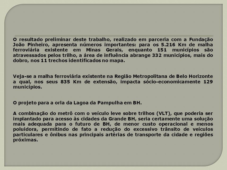 O resultado preliminar deste trabalho, realizado em parceria com a Fundação João Pinheiro, apresenta números importantes: para os 5.216 Km de malha ferroviária existente em Minas Gerais, enquanto 151 municípios são atravessados pelos trilho, a área de influência abrange 332 municípios, mais do dobro, nos 11 trechos identificados no mapa.