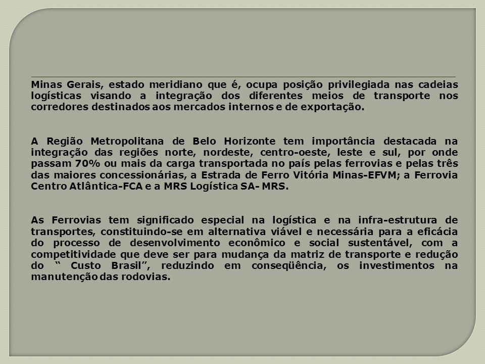 Minas Gerais, estado meridiano que é, ocupa posição privilegiada nas cadeias logísticas visando a integração dos diferentes meios de transporte nos corredores destinados aos mercados internos e de exportação.