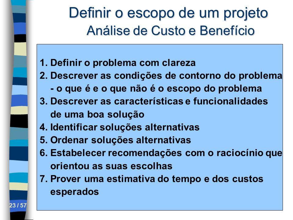 Definir o escopo de um projeto Análise de Custo e Benefício