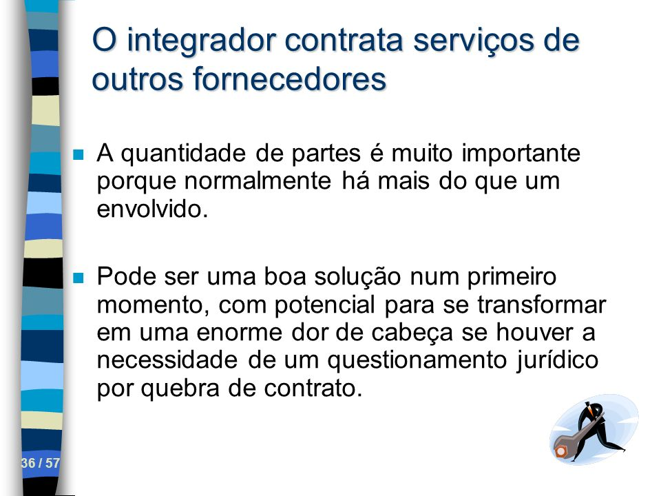 O integrador contrata serviços de outros fornecedores