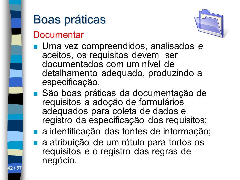 Boas práticas Documentar