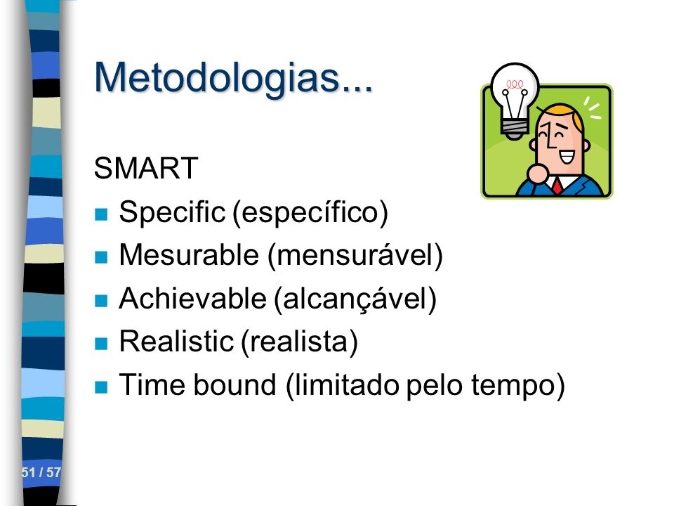 Metodologias... SMART Specific (específico) Mesurable (mensurável)