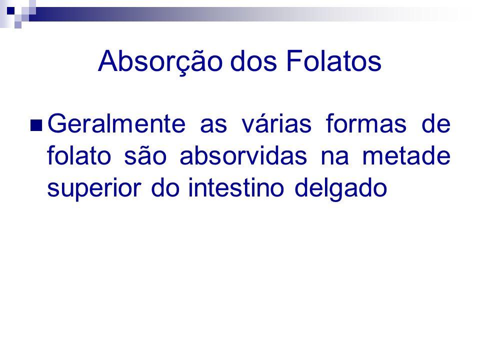 Absorção dos FolatosGeralmente as várias formas de folato são absorvidas na metade superior do intestino delgado.