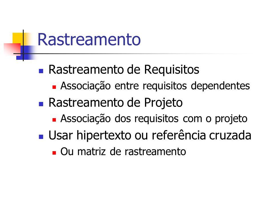 Rastreamento Rastreamento de Requisitos Rastreamento de Projeto