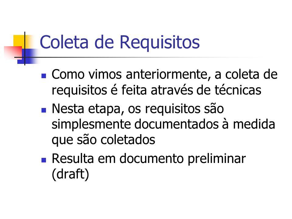 Coleta de Requisitos Como vimos anteriormente, a coleta de requisitos é feita através de técnicas.