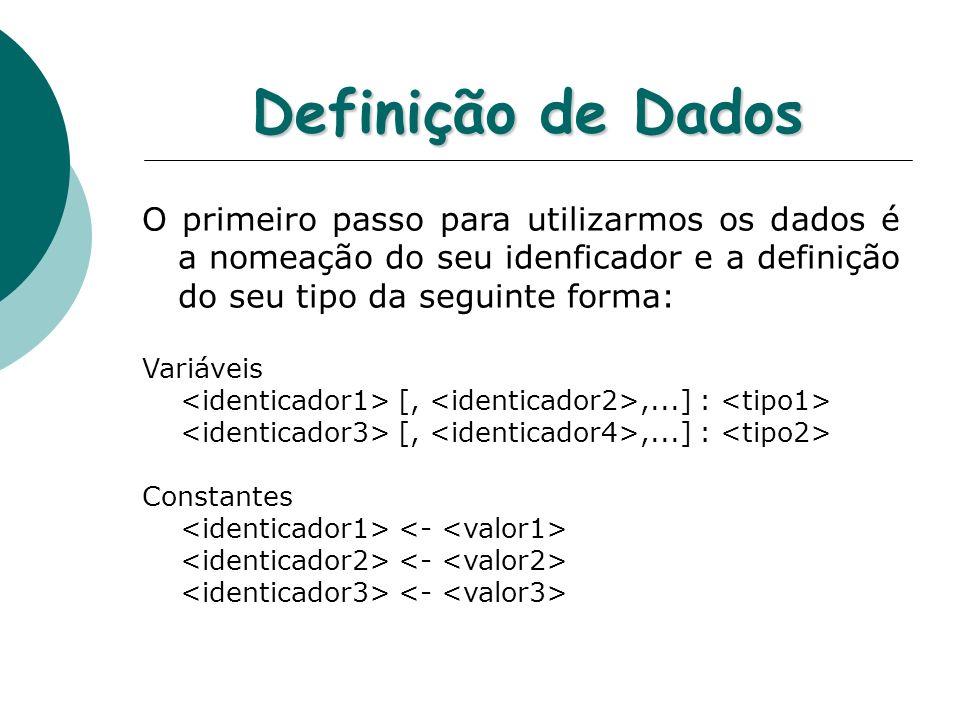 Definição de Dados O primeiro passo para utilizarmos os dados é a nomeação do seu idenficador e a definição do seu tipo da seguinte forma: