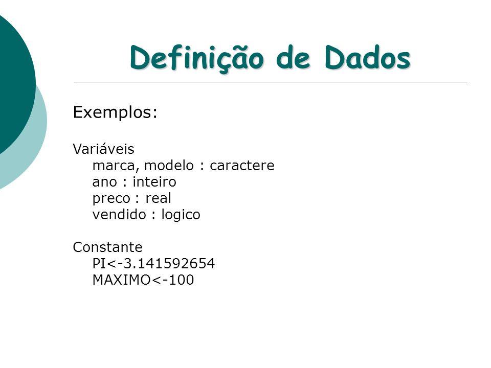Definição de Dados Exemplos: Variáveis marca, modelo : caractere