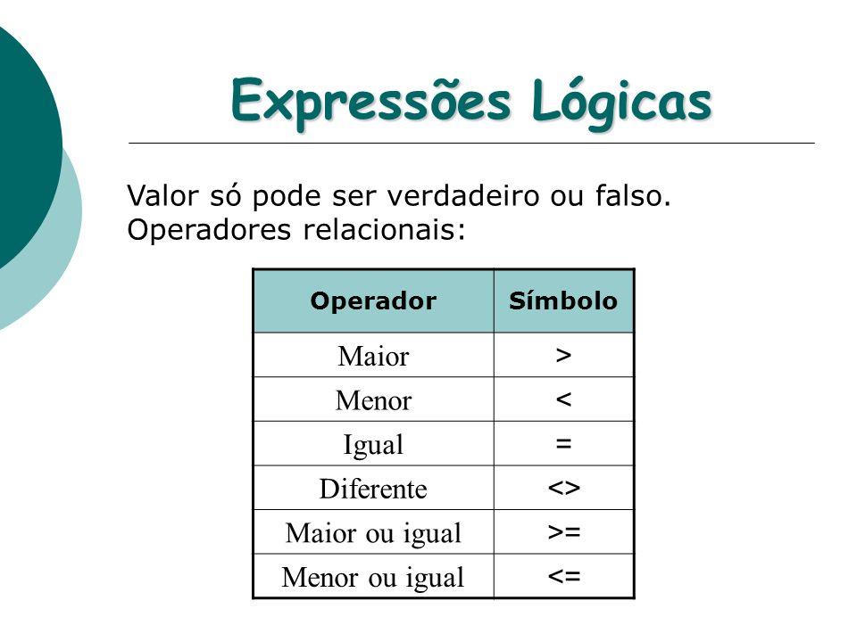 Expressões Lógicas Maior > Menor < Igual = Diferente <>