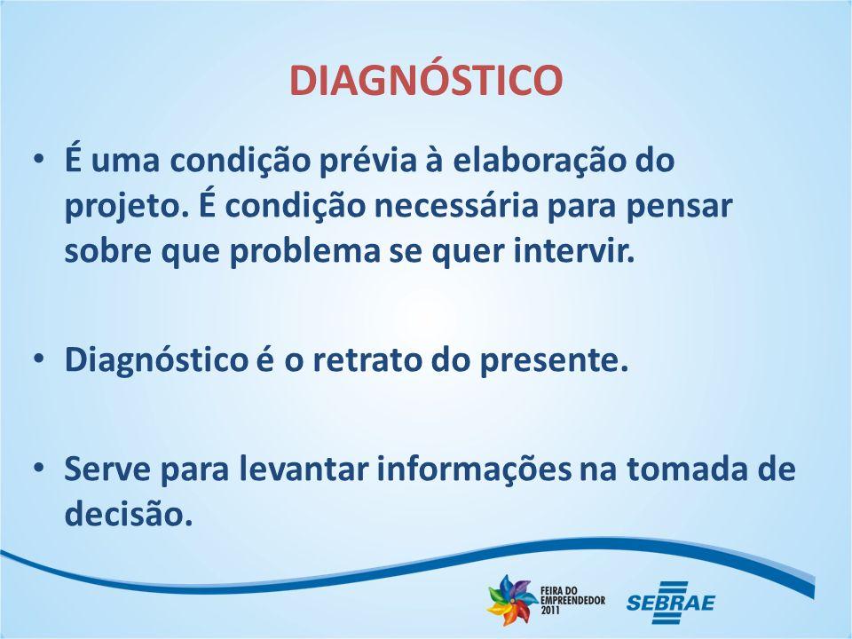 DIAGNÓSTICO É uma condição prévia à elaboração do projeto. É condição necessária para pensar sobre que problema se quer intervir.