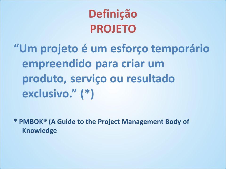 Definição PROJETO Um projeto é um esforço temporário empreendido para criar um produto, serviço ou resultado exclusivo. (*)