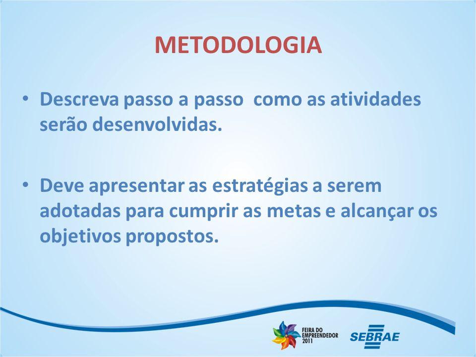 METODOLOGIA Descreva passo a passo como as atividades serão desenvolvidas.