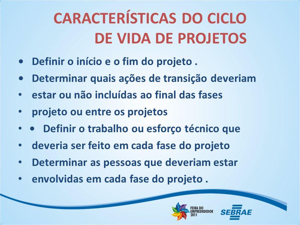 CARACTERÍSTICAS DO CICLO DE VIDA DE PROJETOS