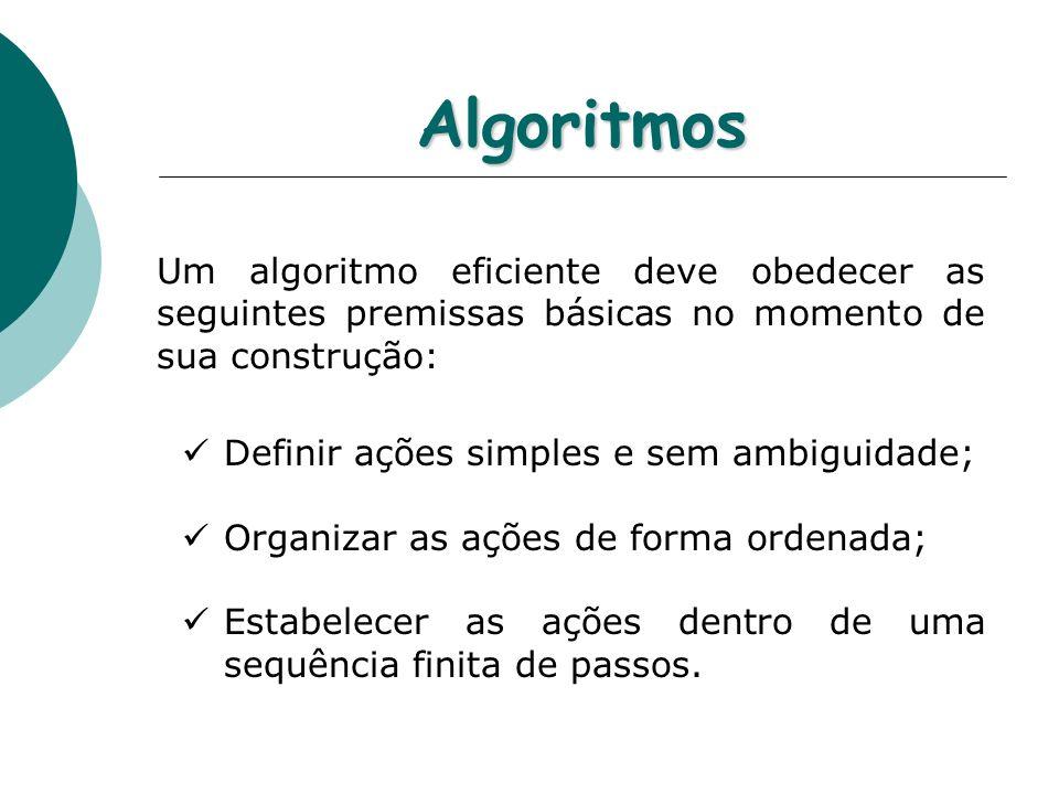 Algoritmos Um algoritmo eficiente deve obedecer as seguintes premissas básicas no momento de sua construção: