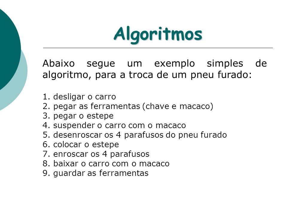 Algoritmos Abaixo segue um exemplo simples de algoritmo, para a troca de um pneu furado: desligar o carro.