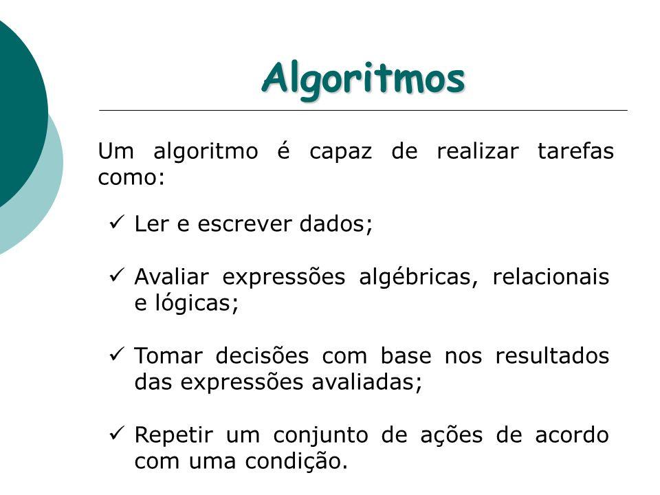 Algoritmos Um algoritmo é capaz de realizar tarefas como: