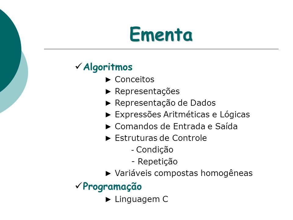Ementa Algoritmos Programação ► Conceitos ► Representações