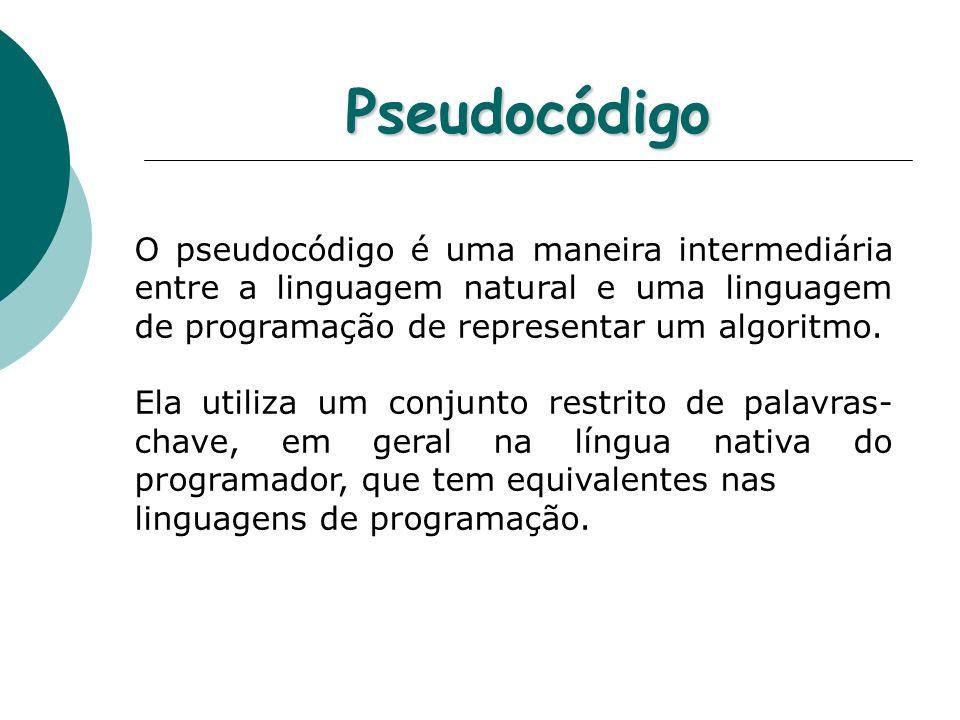 PseudocódigoO pseudocódigo é uma maneira intermediária entre a linguagem natural e uma linguagem de programação de representar um algoritmo.