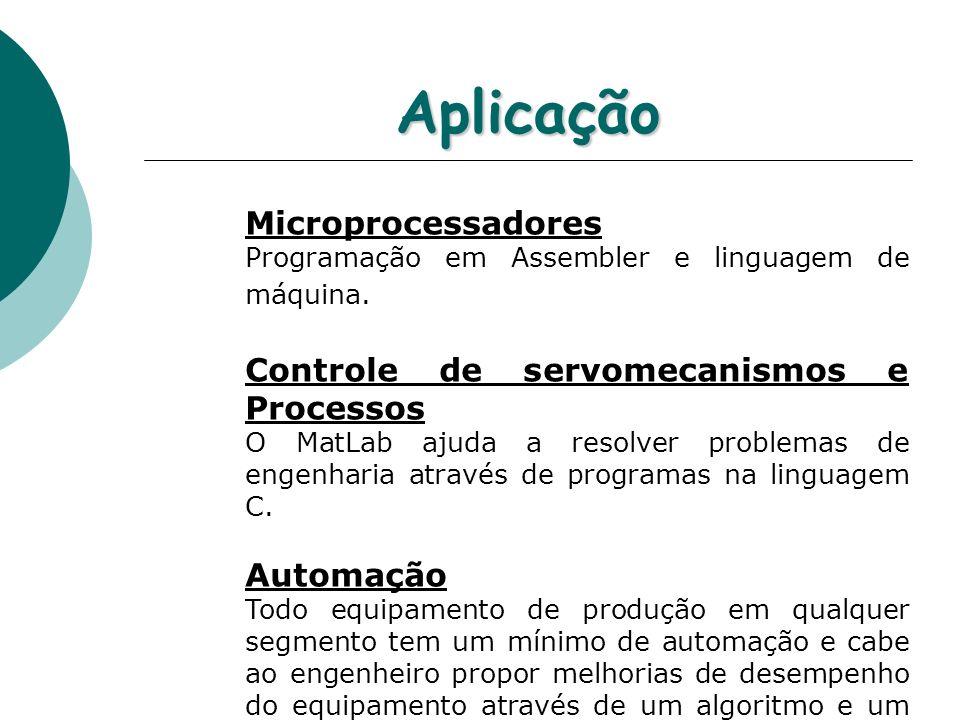 Aplicação Microprocessadores Controle de servomecanismos e Processos