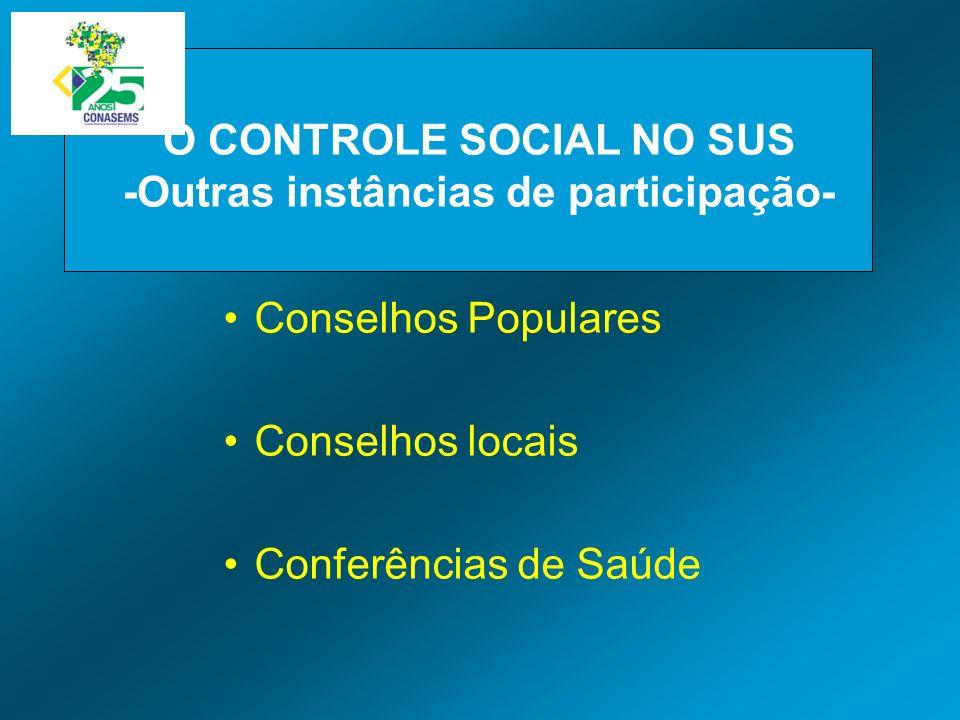 O CONTROLE SOCIAL NO SUS -Outras instâncias de participação-