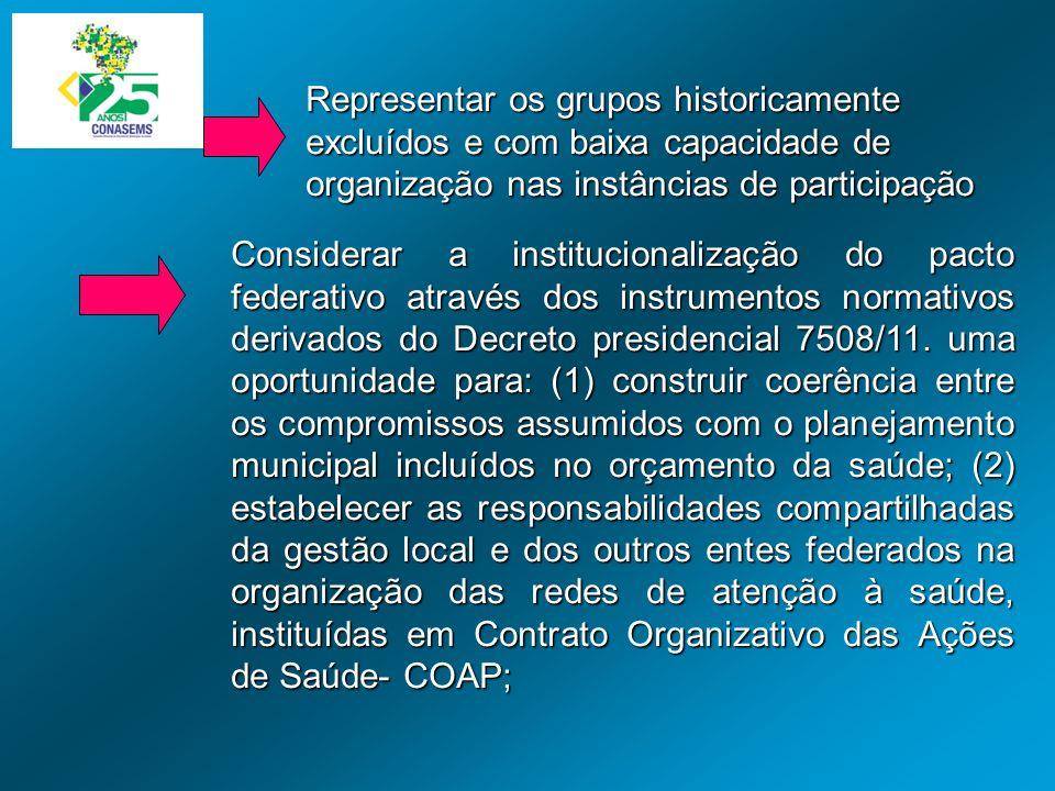 Representar os grupos historicamente excluídos e com baixa capacidade de organização nas instâncias de participação