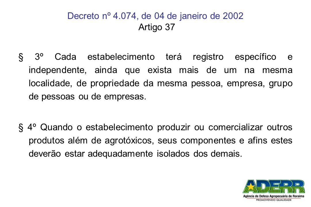 Decreto nº 4.074, de 04 de janeiro de 2002 Artigo 37